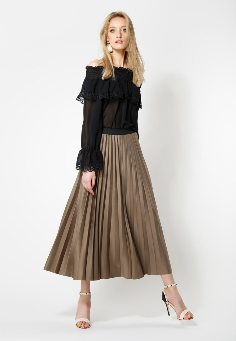 Khaki Spódnica Pleated Story