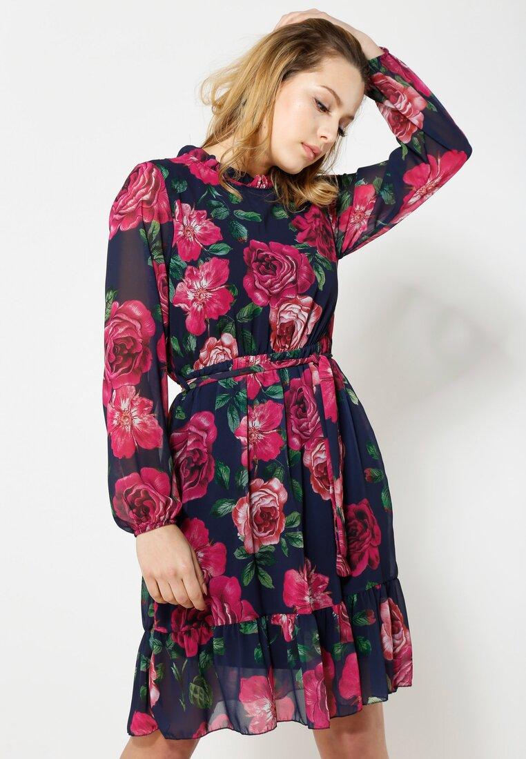 Granatowo-Fuksjowa Sukienka Spring Mood
