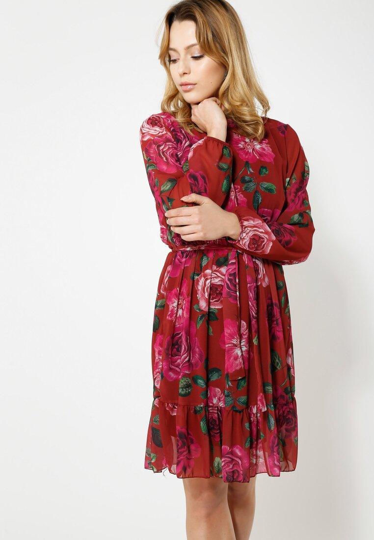 Bordowa Sukienka Spring Mood