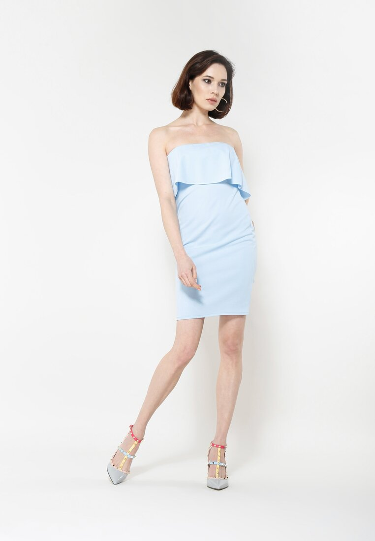 Niebieska Sukienka Falbala
