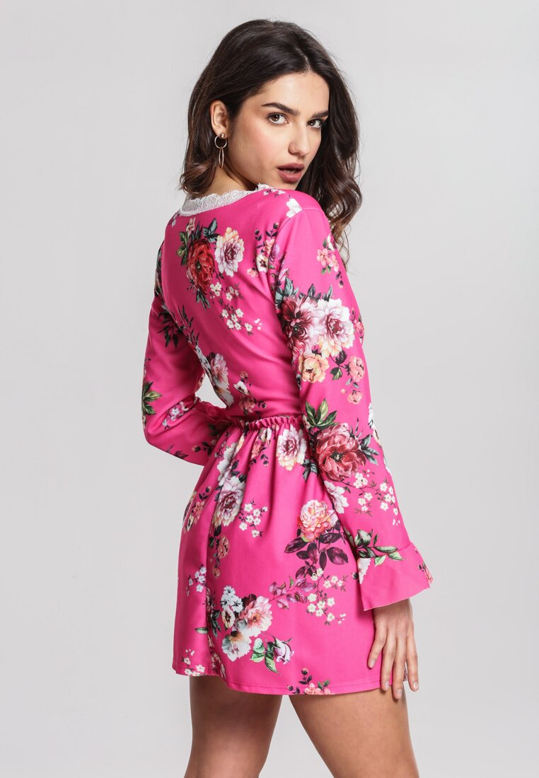 Fuksjowo-Czerwona Sukienka Sweety Flower