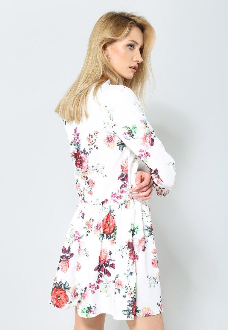 Biało-Bordowa Sukienka Sweety Flower