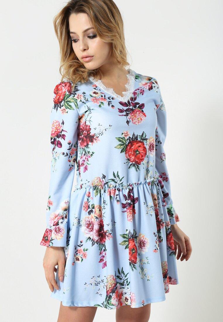 Niebiesko-Bordowa Sukienka Sweety Flower
