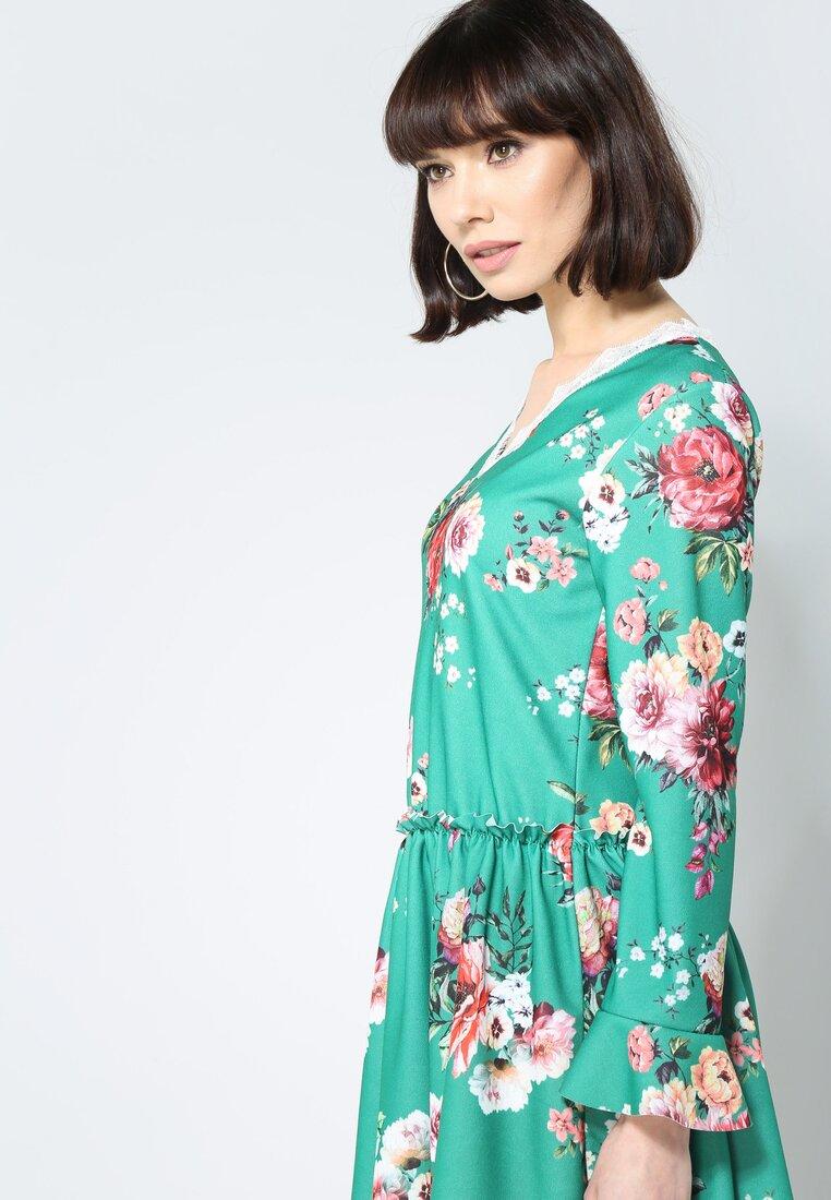 Zielono-Czerwona Sukienka Sweety Flower