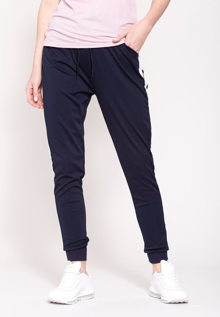 Granatowe Spodnie Dresowe Hard Life