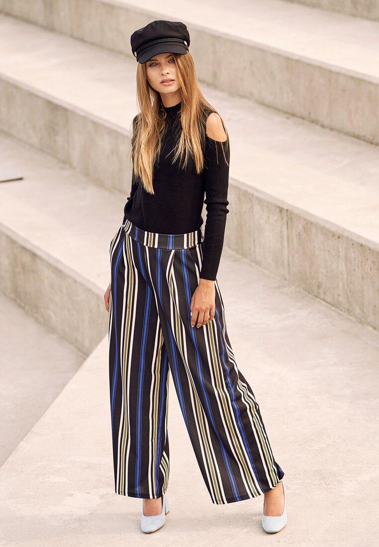 Czarno-Niebieskie Spodnie Be Satisfied