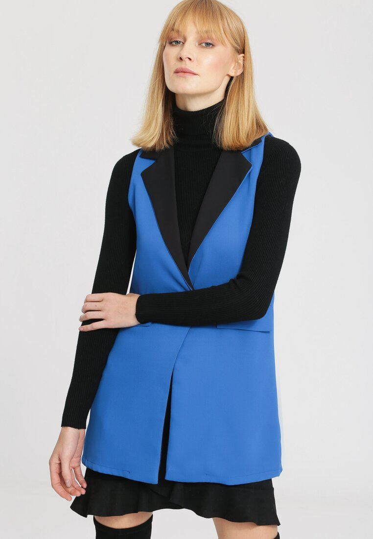 Niebieska Kamizelka Art Deco