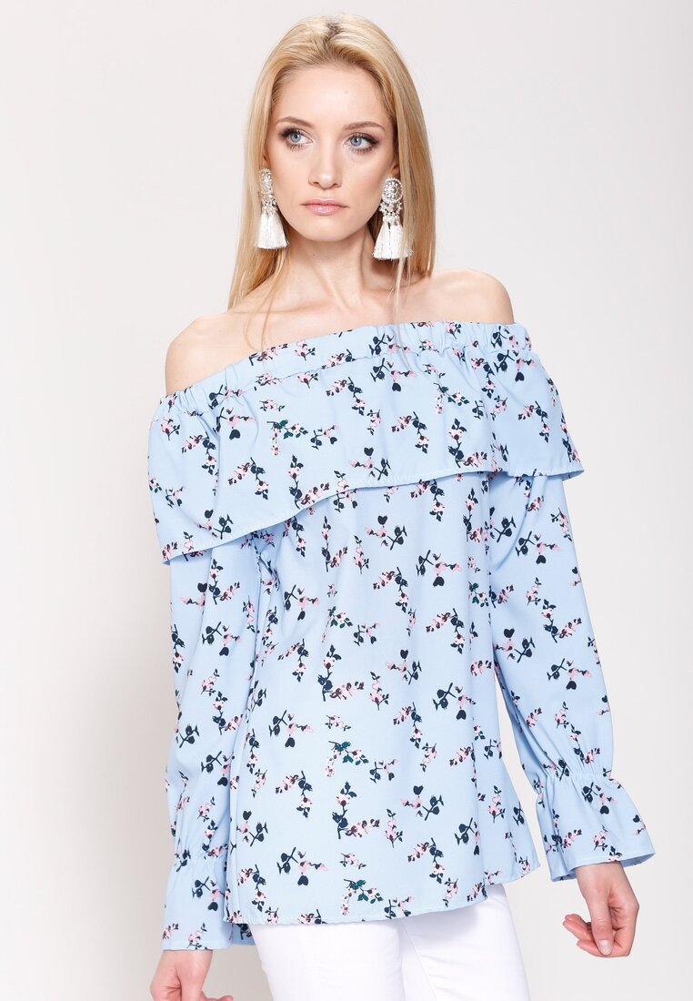 Niebieska Bluzka Flowering Theme