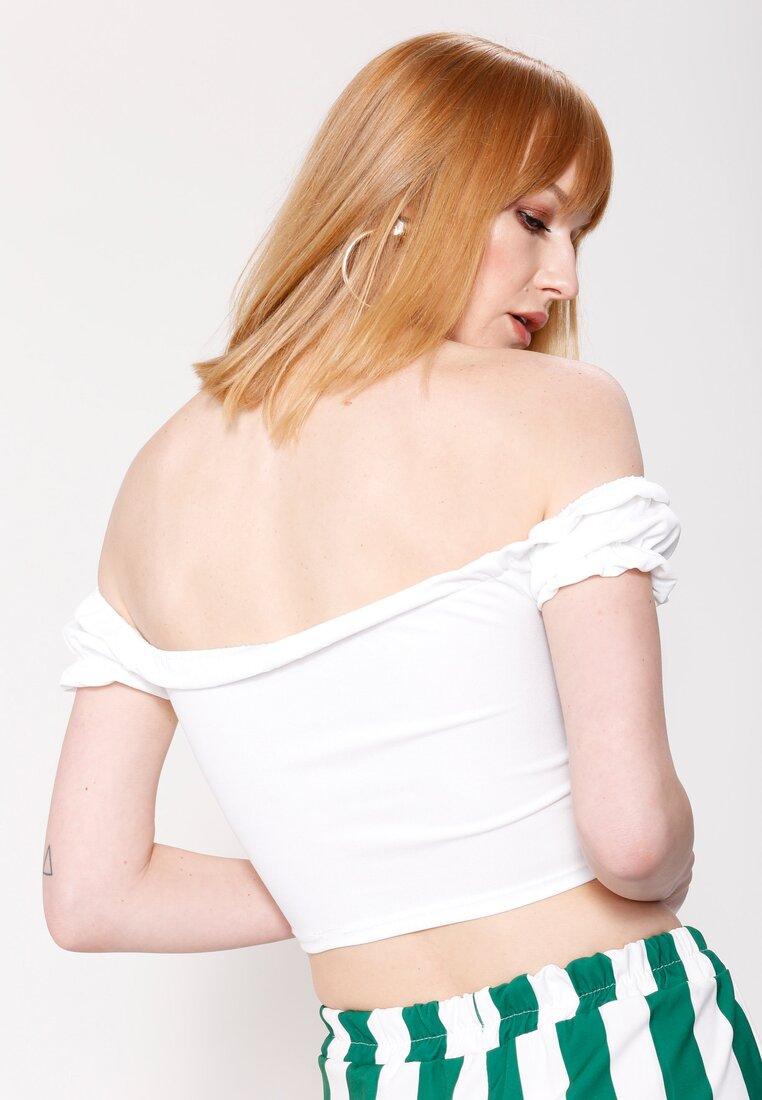 Biały Top Victorian Neckline