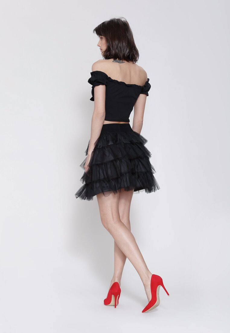 Czarna Spódnica Tournure