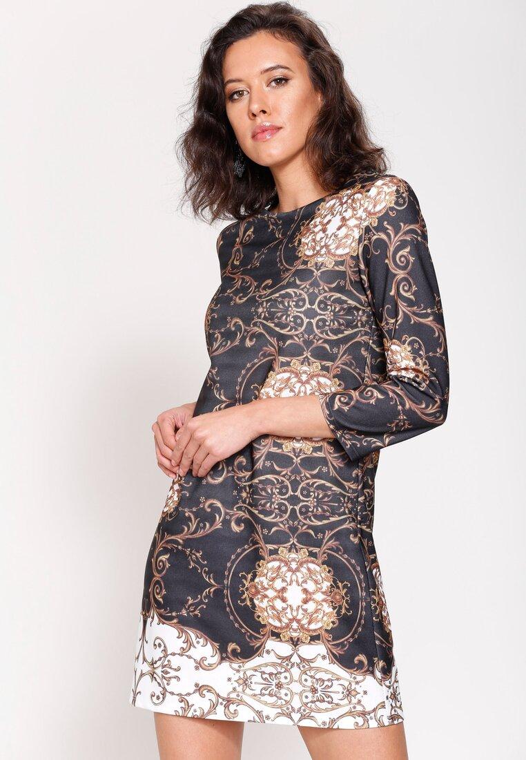 Czarna Sukienka Mosaic Motiv