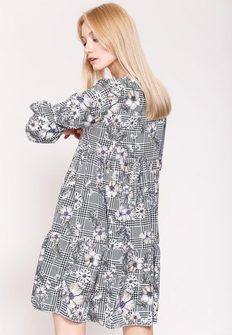 Szaro-Beżowa Sukienka The One