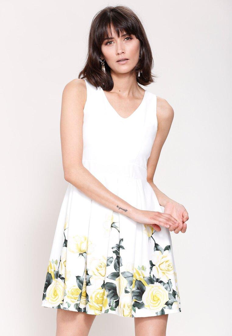 Biało-Żółta Sukienka Cascade