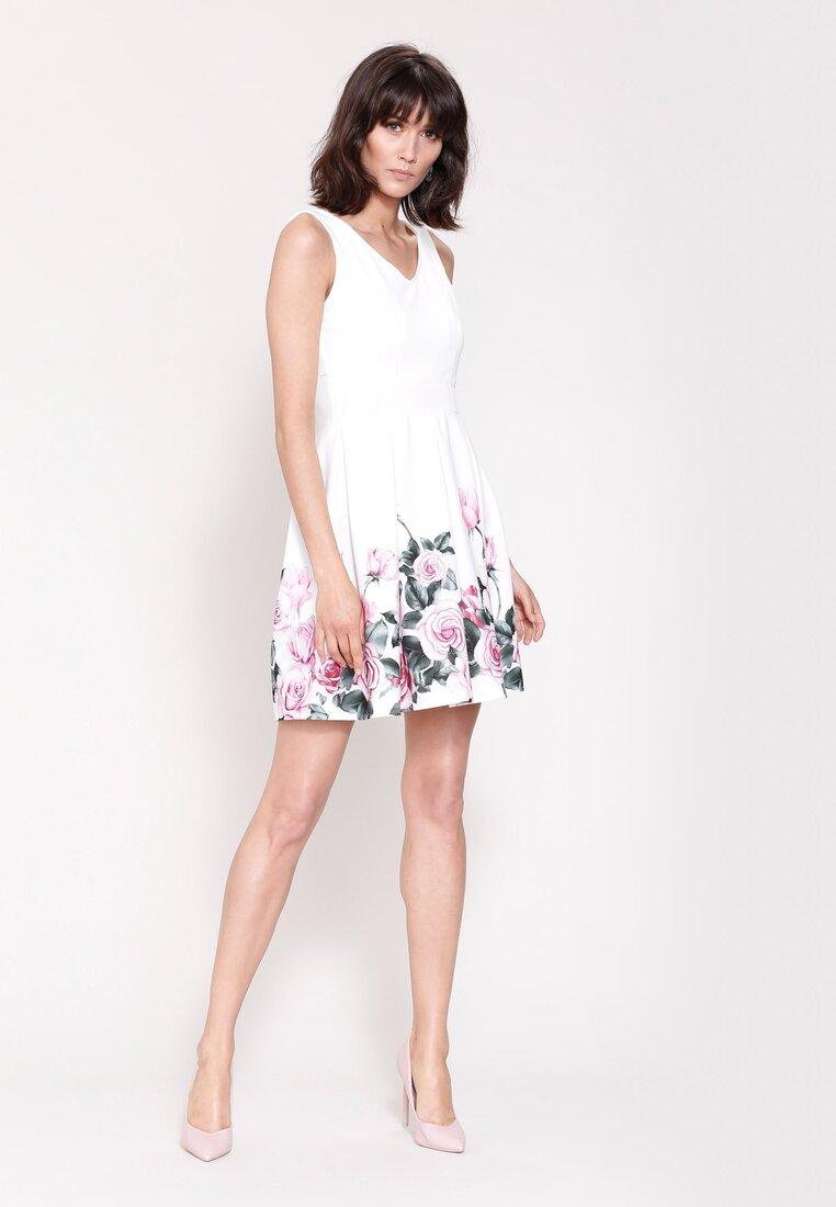 Biało-Różowa Sukienka Cascade