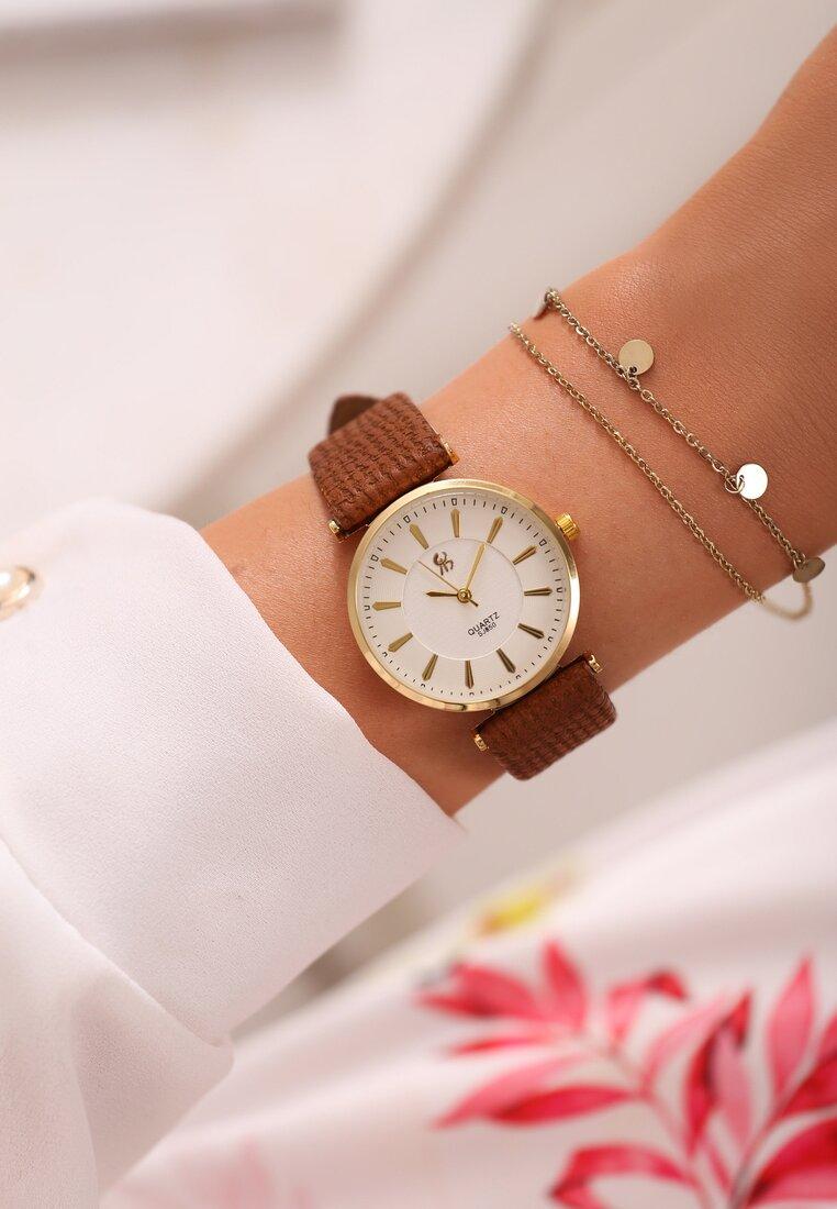 Brązowo-Złoty Zegarek Classic Timer