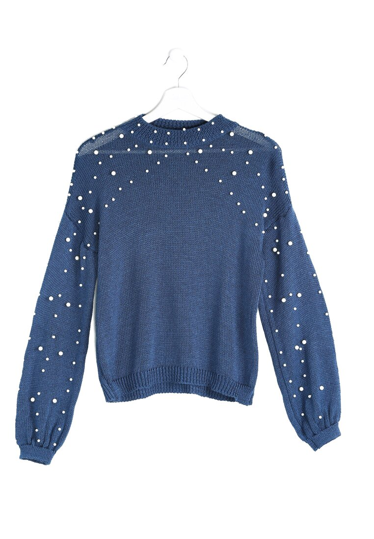 Granatowy Sweter Over The Shoulders