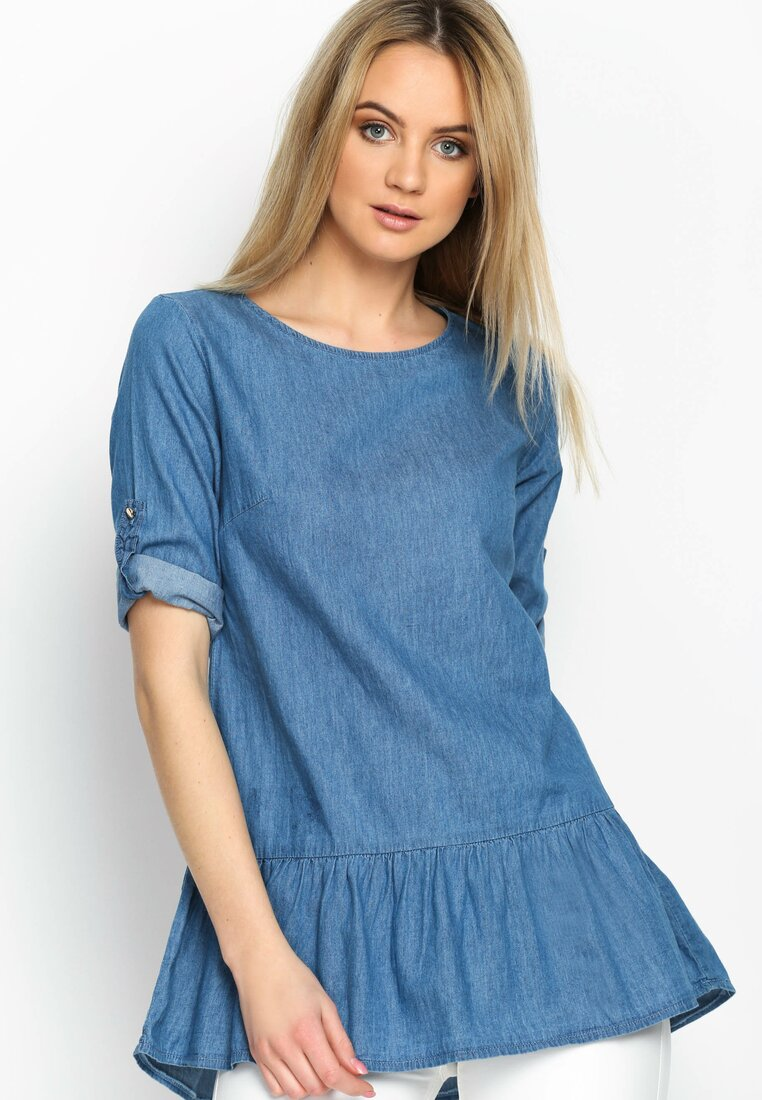 Ciemnoniebieska Bluzka Peplum