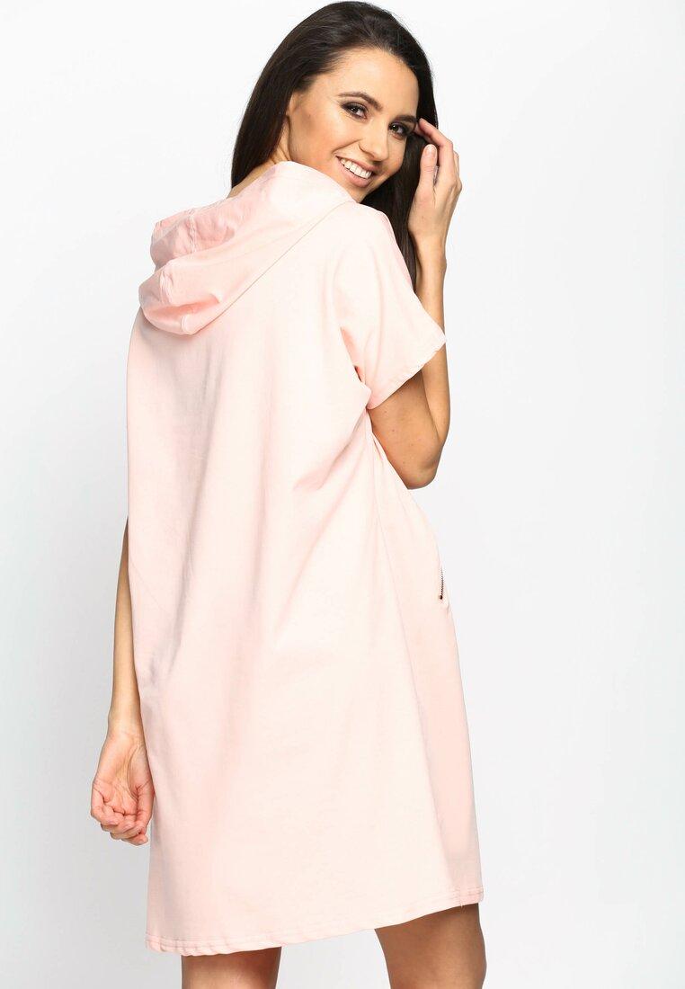 Różowa Sukienka Sporty Glamour