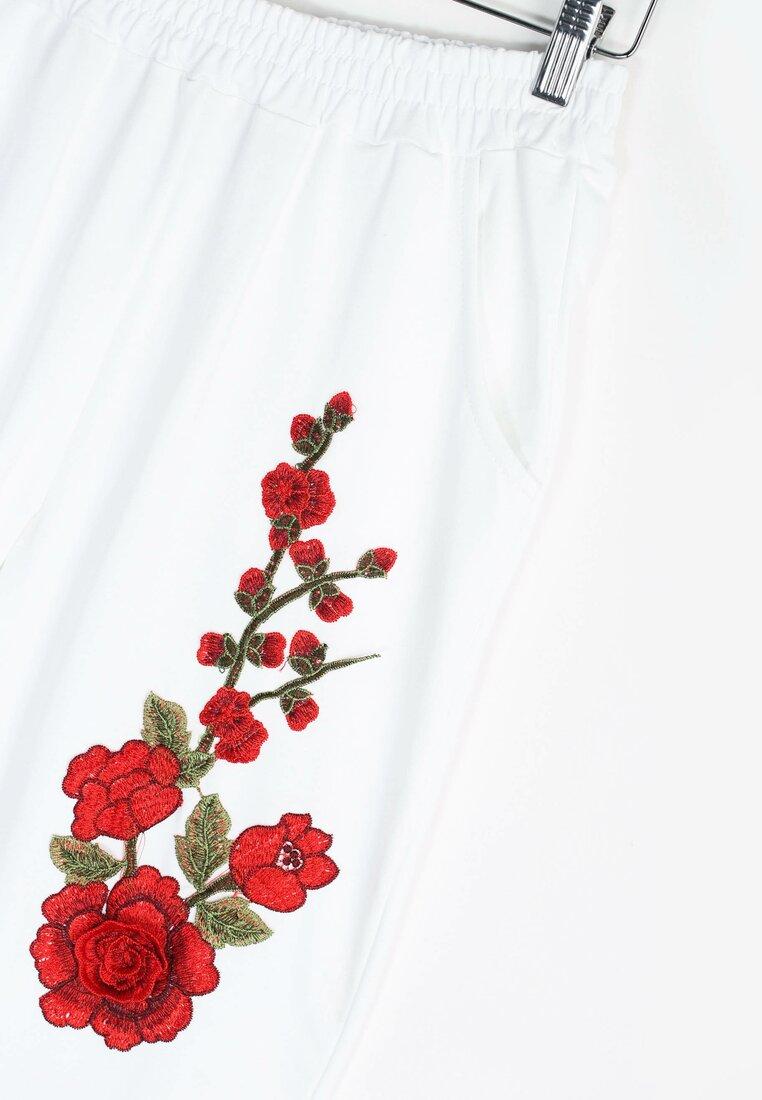Białe Spodnie Dresowe Rosy Roses