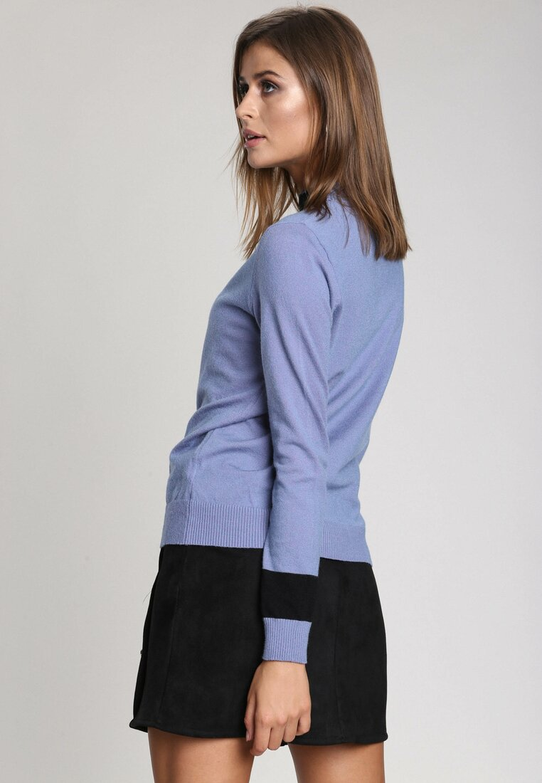 Niebieski Sweter High Pearl Collar