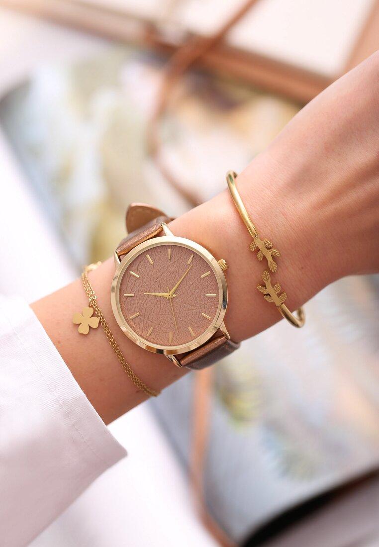Ciemnobeżowy Zegarek Preprint