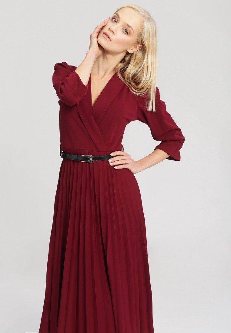 Bordowa Sukienka Overtones