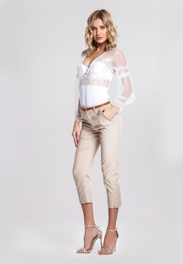 Beżowe Spodnie Zip