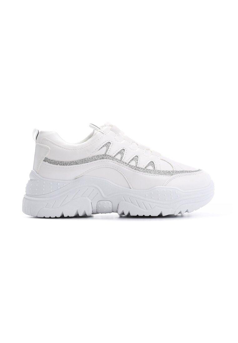 Srebrne Sneakersy Decorated