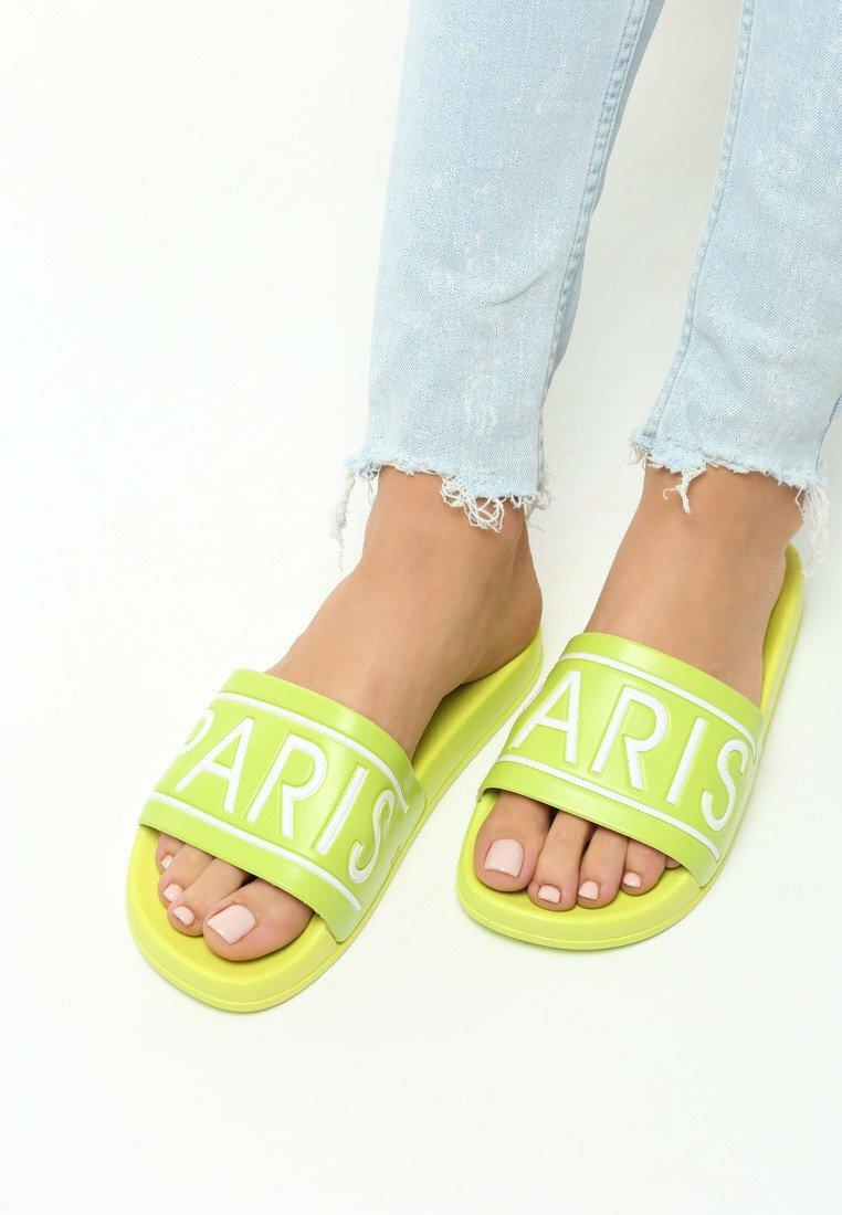Limonkowe Klapki Paris Look