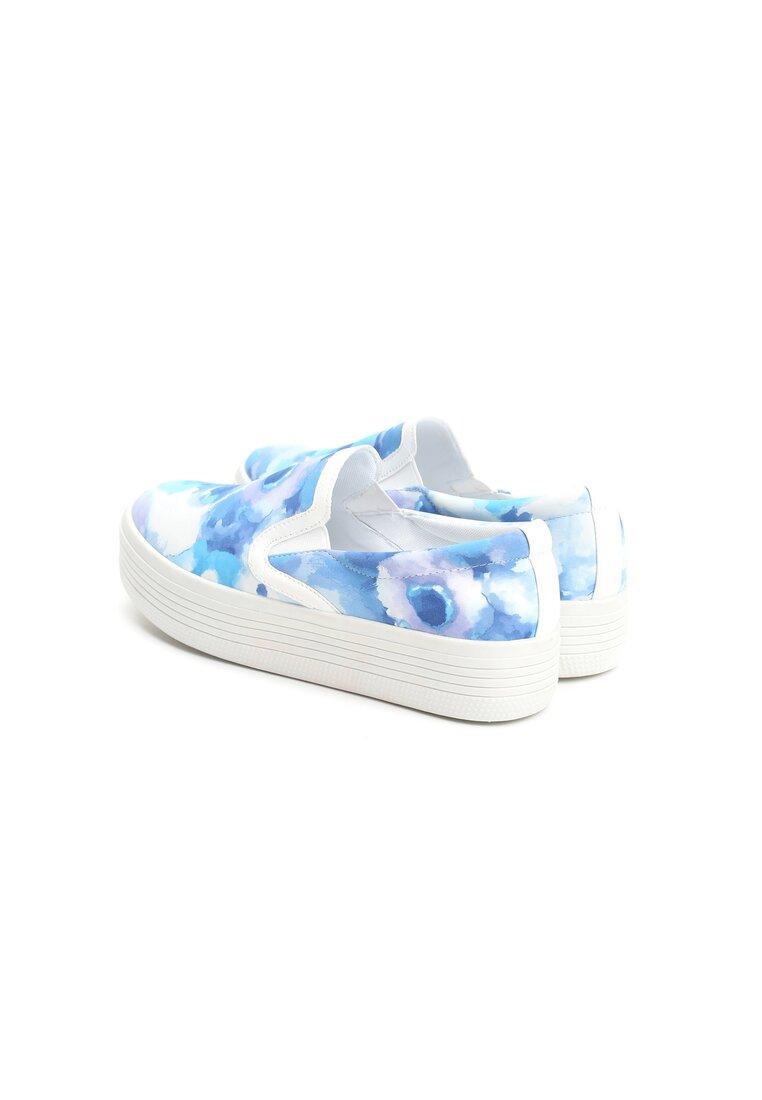 Niebieskie Slip On Flower