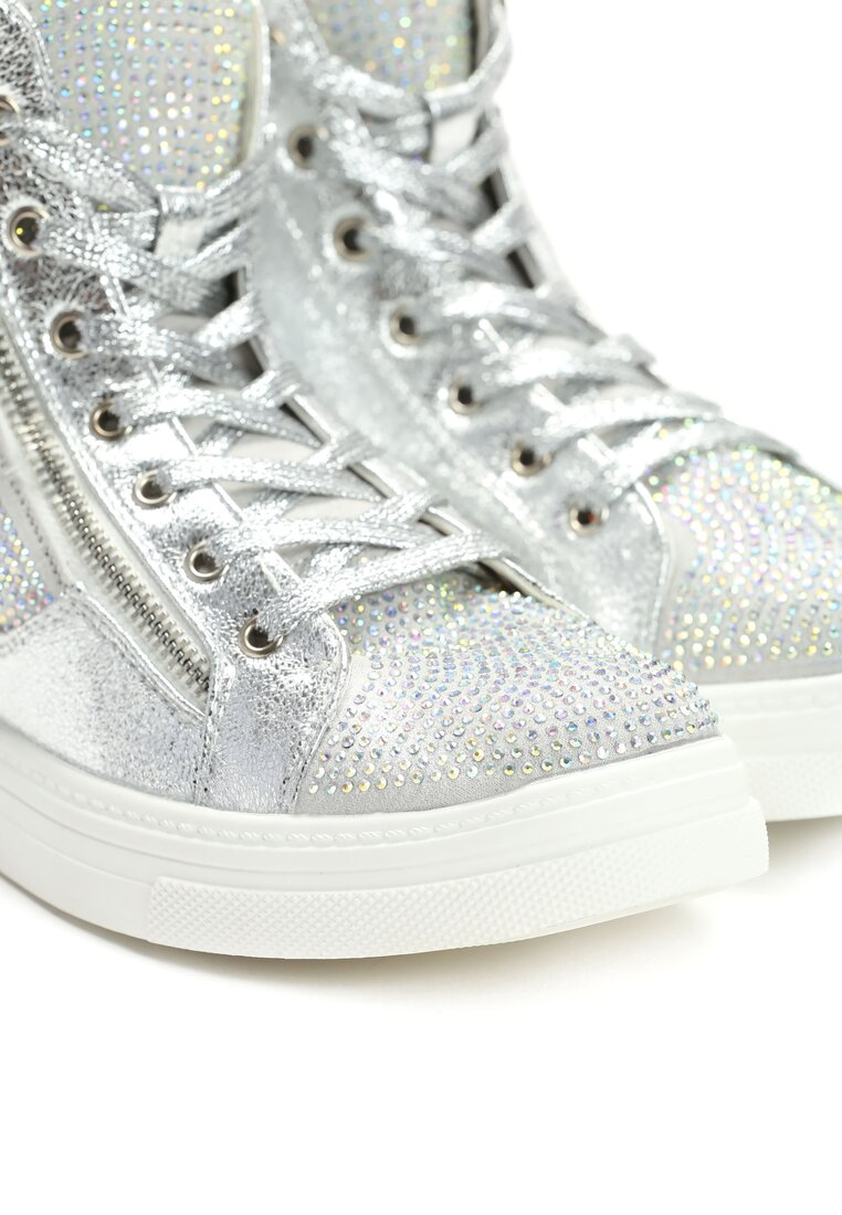 Srebrne Sneakersy Vincente