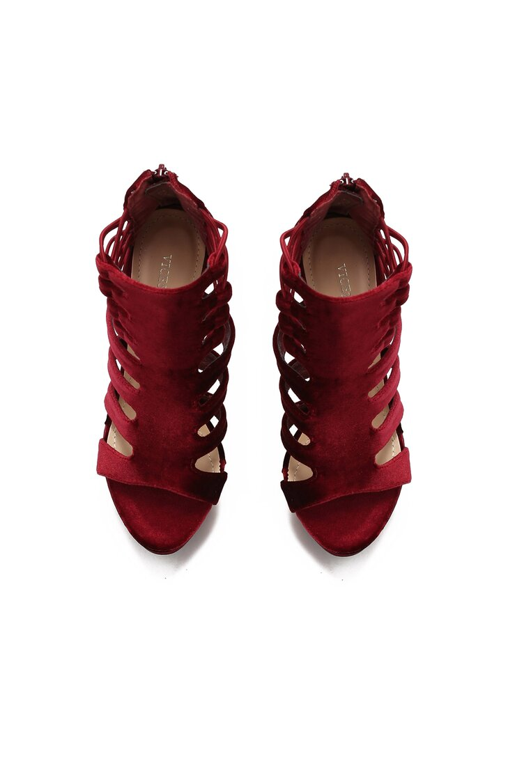 Bordowe Sandały Glam
