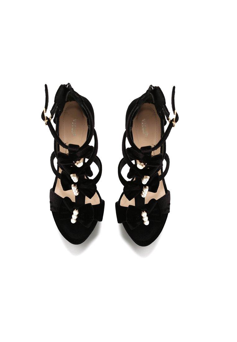 Czarne Sandały Velcro