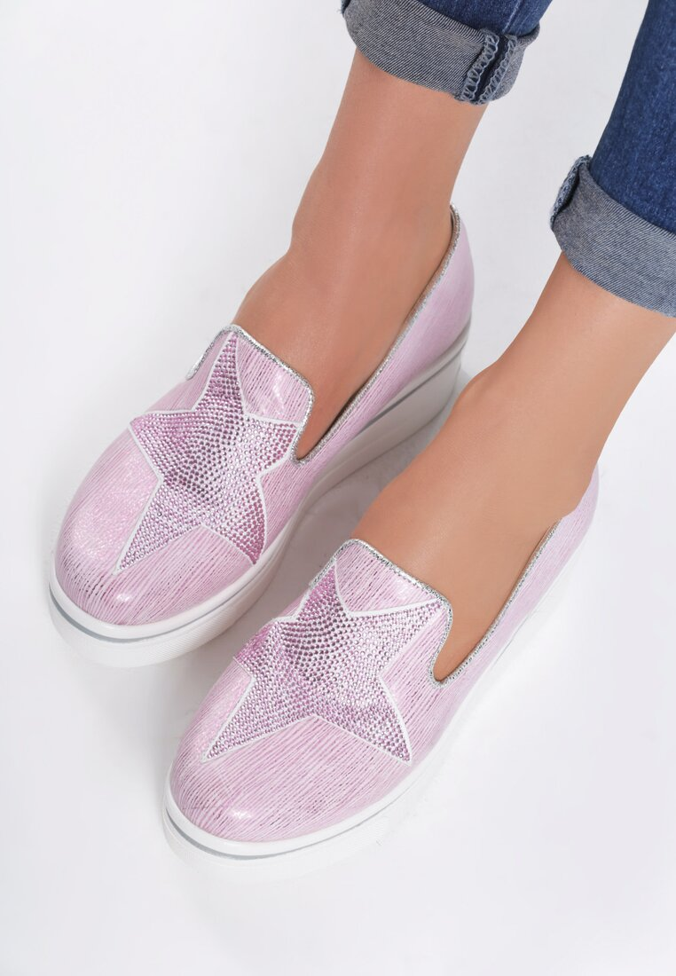 Różowe Slip On Toile De Jouy