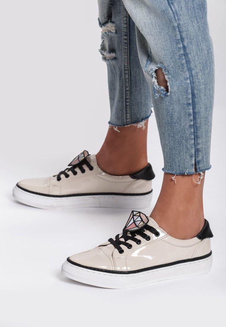 Beżowe Buty Sportowe Grey Think