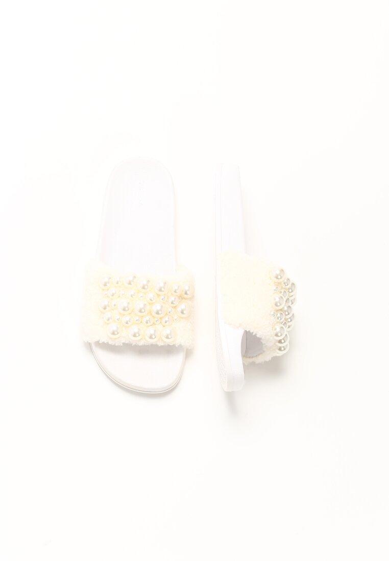 Białe Futrzane Klapki Pearl