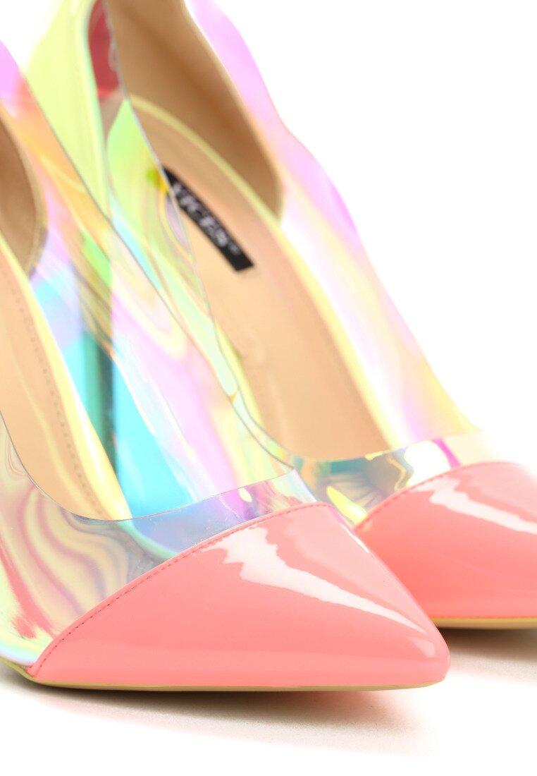 Limonkowo-Różowe Neonowe Szpilki Demi