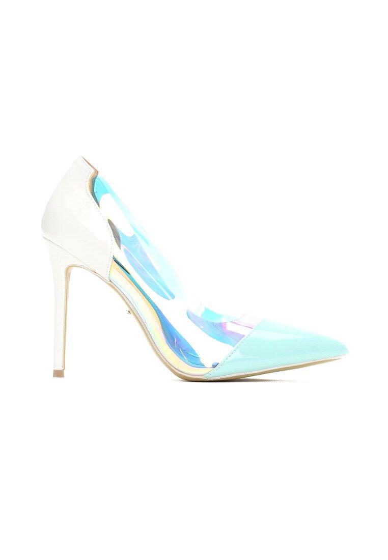 Biało-Niebieskie Neonowe Szpilki Demi
