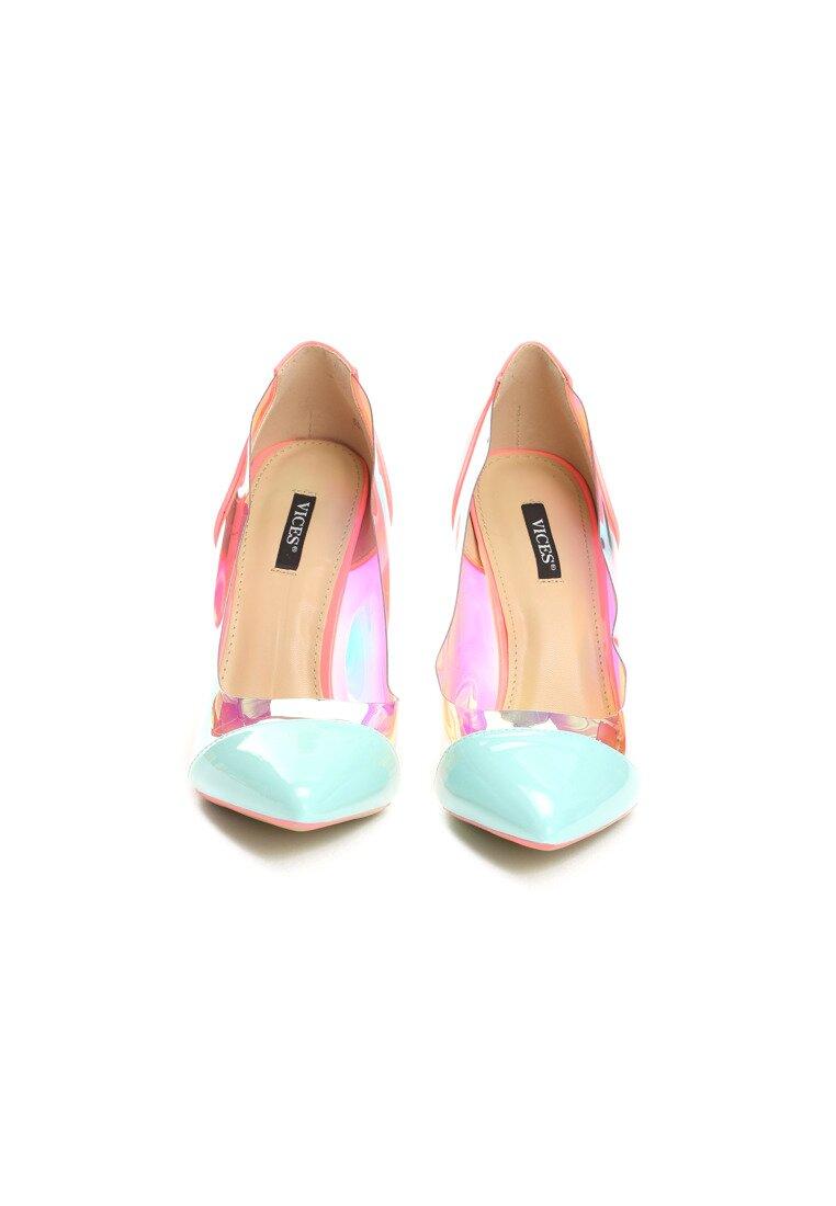 Niebiesko-Różowe Neonowe Szpilki Demi