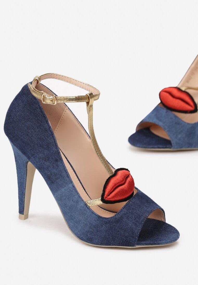 Granatowe Sandały Red Lips