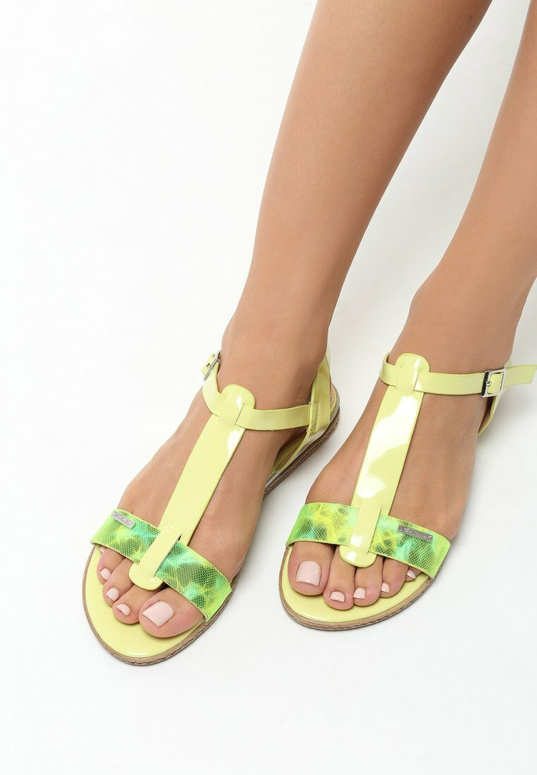 Jasnozielone Sandały Polichroma