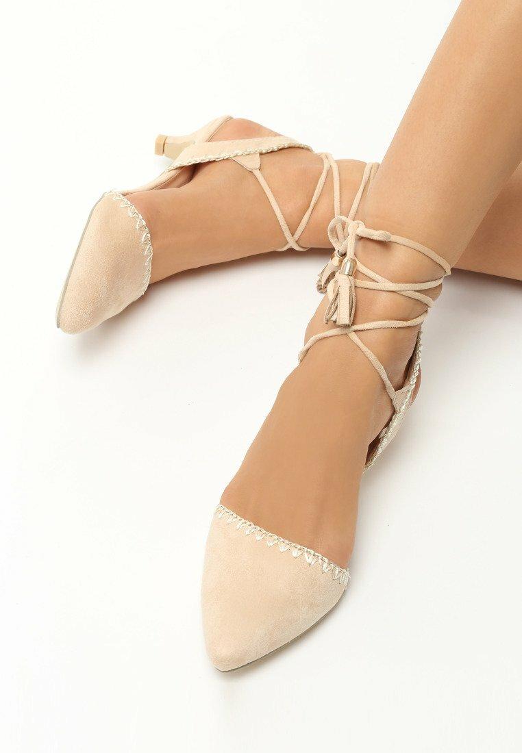 Beżowe Sandały Stiletto