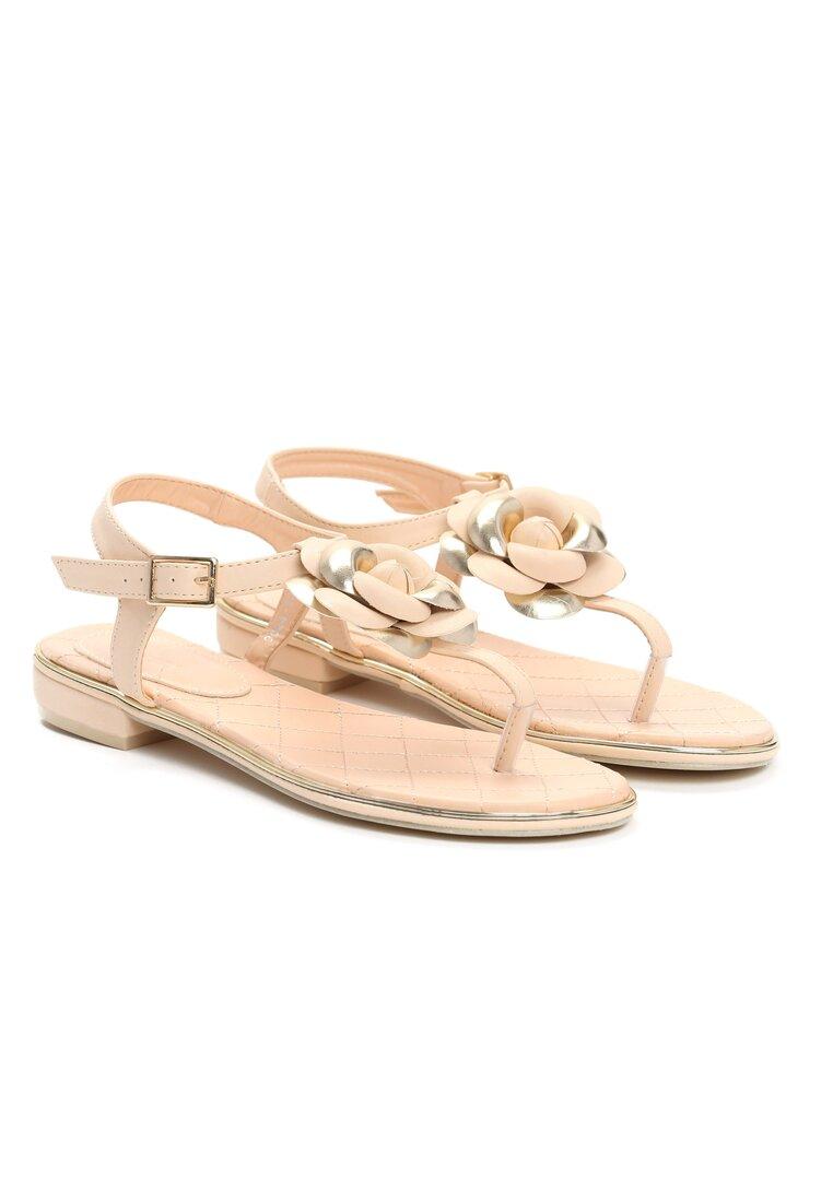 Beżowe Sandały Blossom
