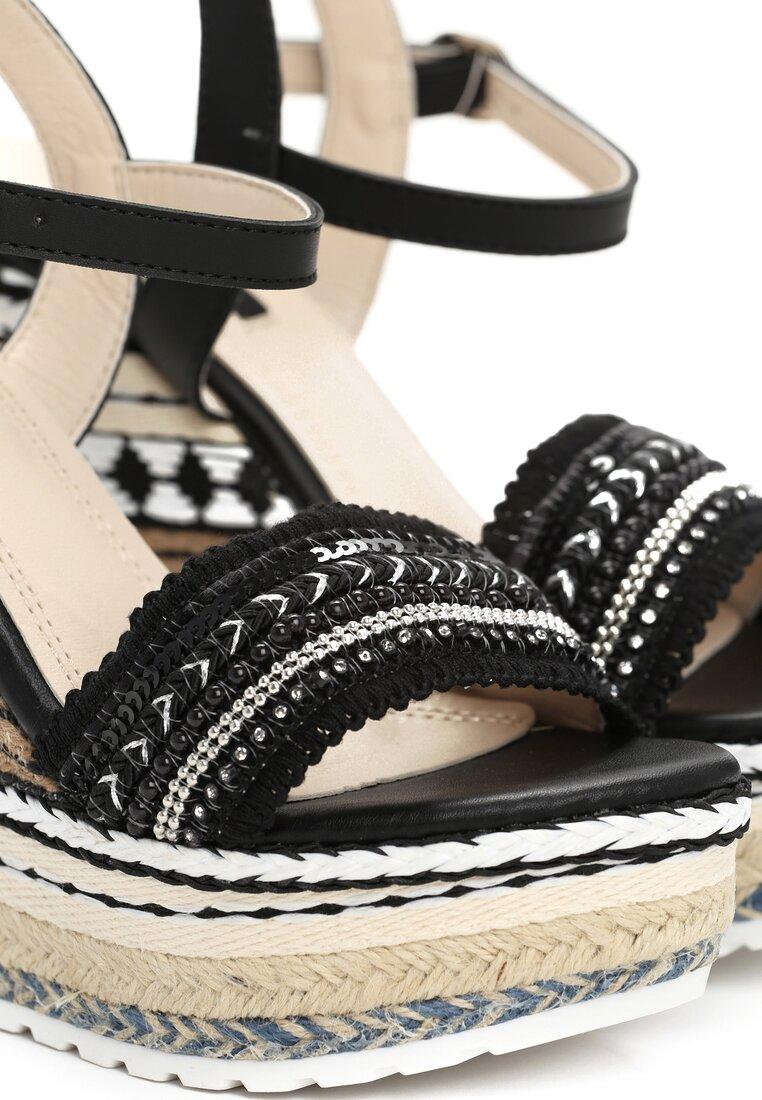 Czarne Sandały Aztec Wedge