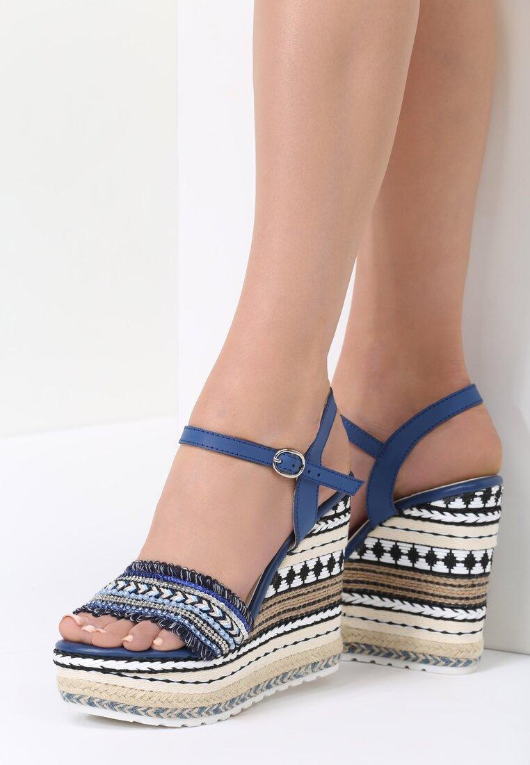 Granatowe Sandały Aztec Wedge