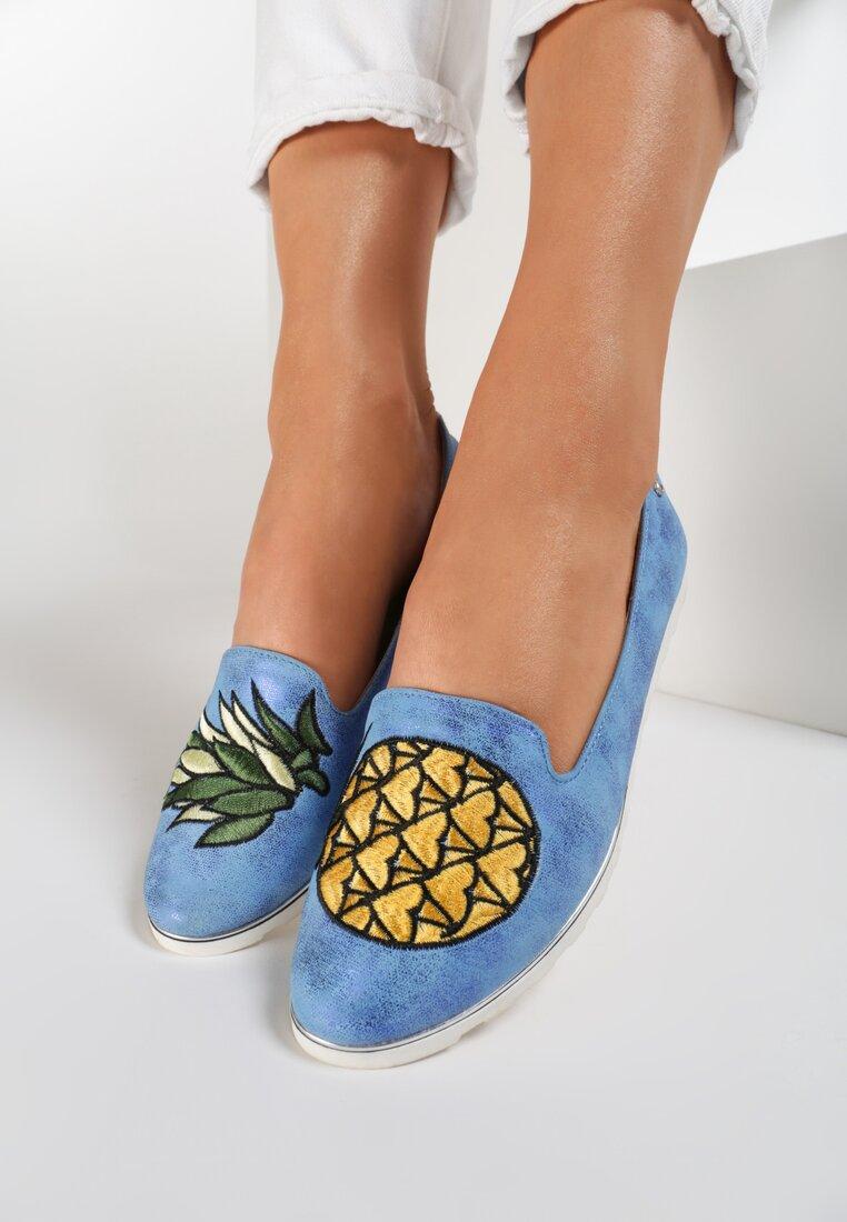 Jasnoniebieskie Mokasyny Pineapple