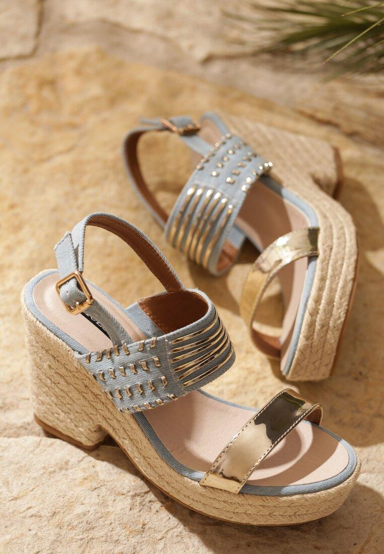 Jasnoniebieskie Sandały Wafture