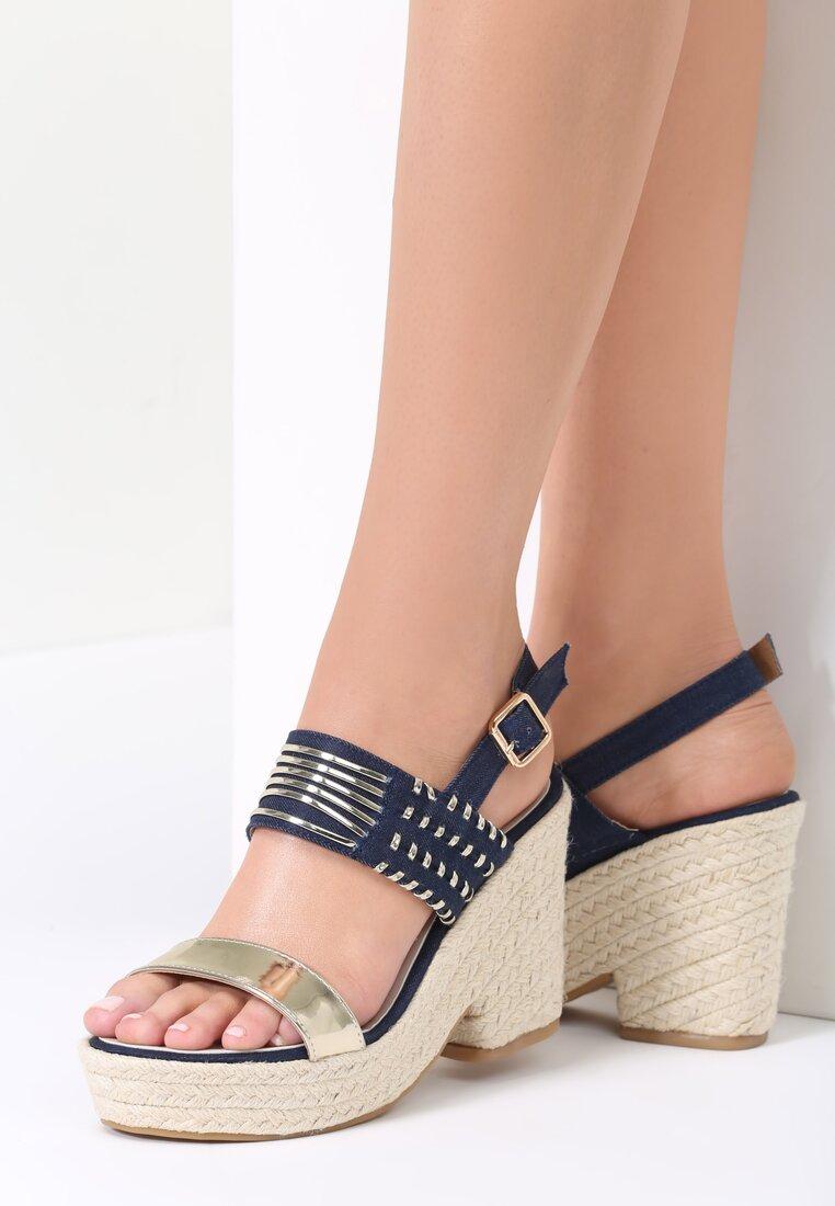 Granatowe Sandały Wafture