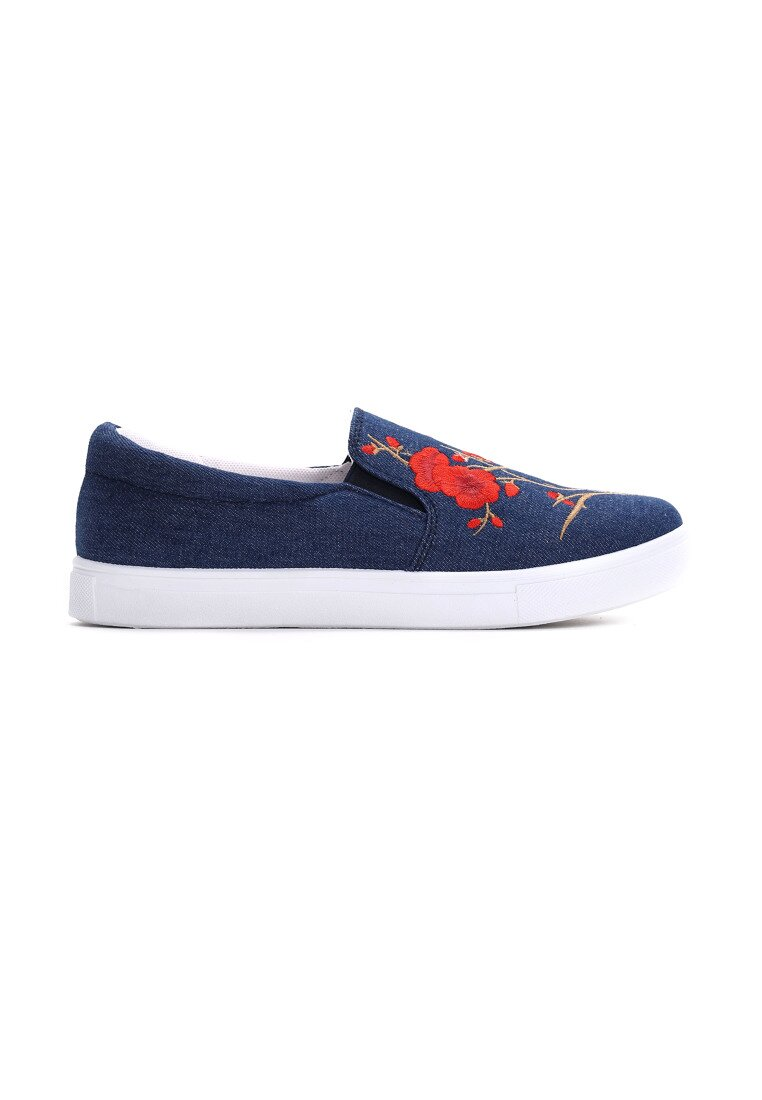 Granatowe Slip On Papaver