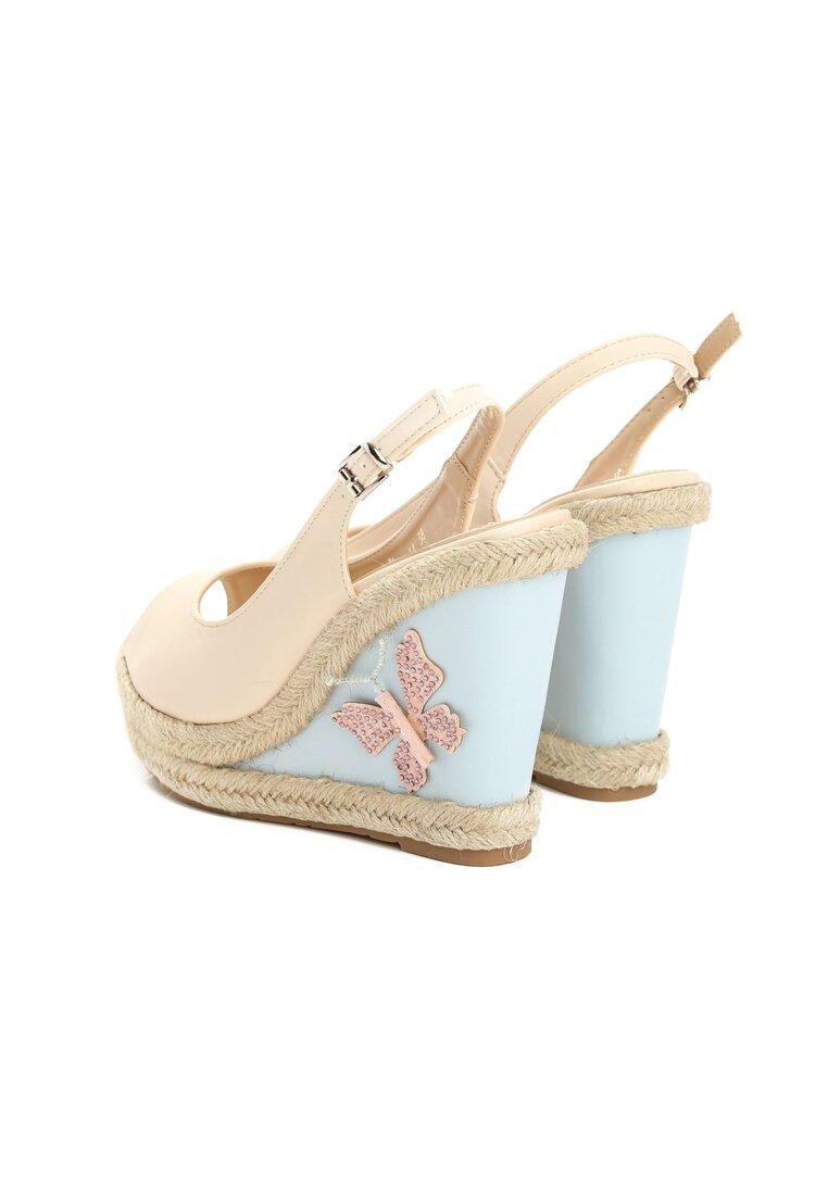 Beżowe Sandały Butterfly